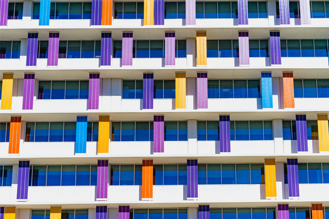 coloured panels on building facade
