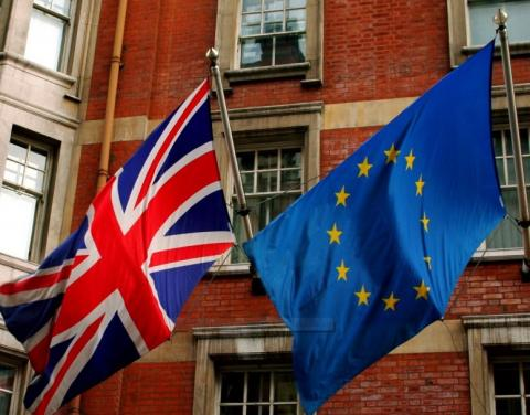 British flag next to a European Union flag